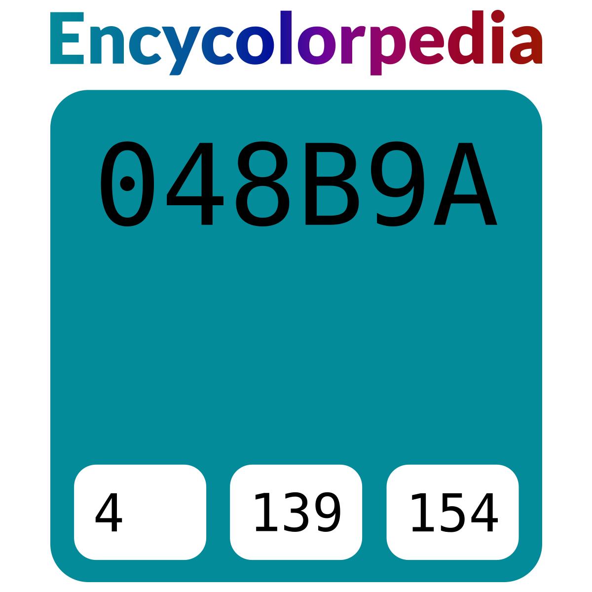 Bleu canard / #048b9a Schémas de Couleurs Hexadécimal et Peintures